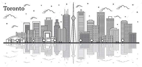 Outline Toronto Canada City Skyline with Modern Buildings - Buildings Objects