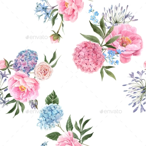 Watercolor Floral Bouquet Seamless Pattern - Miscellaneous Illustrations