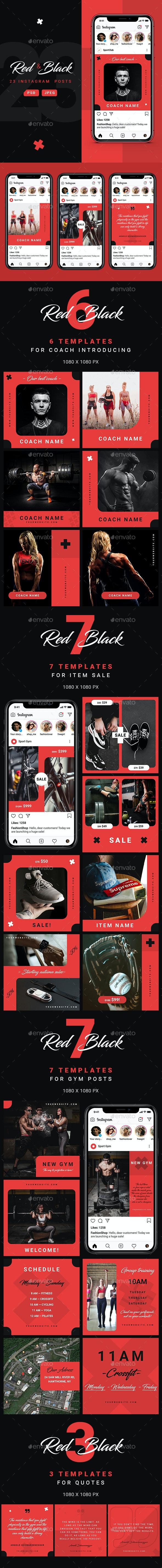 Red&Black – Sport Instagram Posts - Miscellaneous Social Media