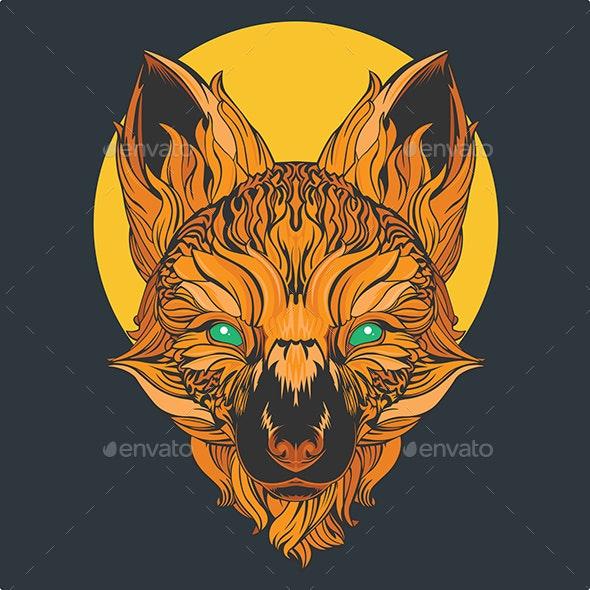Fox Head Lines Vector - Animals Characters