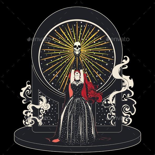 Witch and Human Skull - Halloween Seasons/Holidays