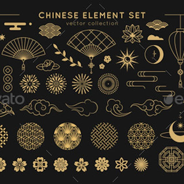 Asian Design Element Set Vector Decorative