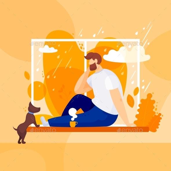 Autumn Days Rain Outside the Window - Animals Characters