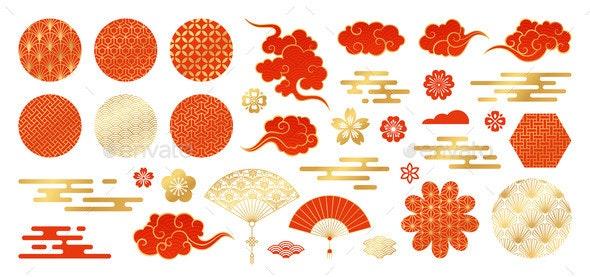 Asian Design Element Set - Miscellaneous Vectors
