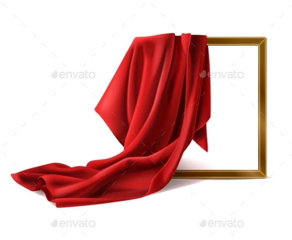 Red Silk Cloth Cover Wooden Photo Frame Isolated - Backgrounds Decorative