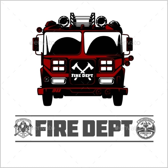 Fire Truck - Fire Department Emblem Vector - Man-made Objects Objects