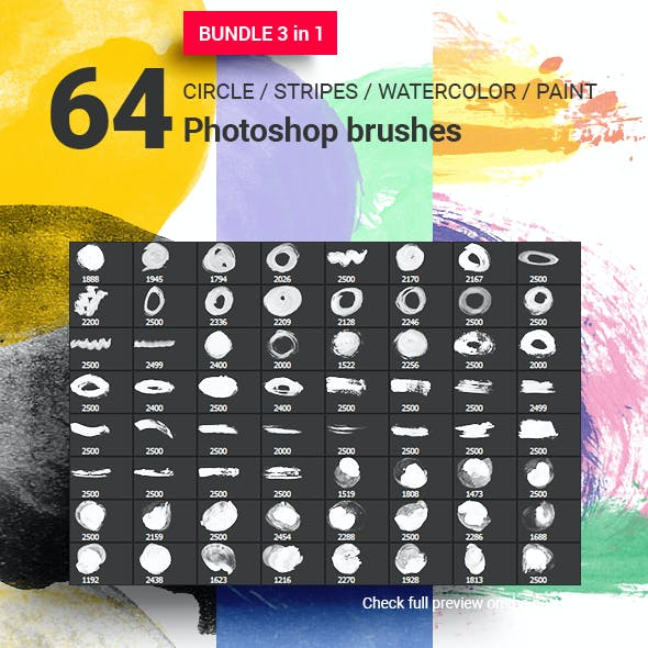64 Circles Badges Stripes Watercolor Photoshop Brushes Bundle