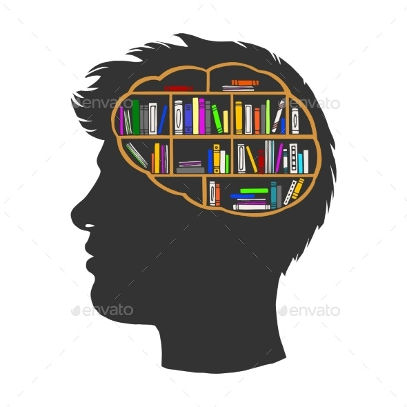 Man with Books Library in Brain Sketch Vector - Miscellaneous Vectors