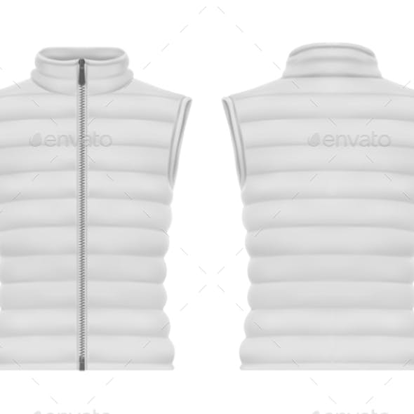 Front and Back of Vest Jacket or Sleeveless Puffer