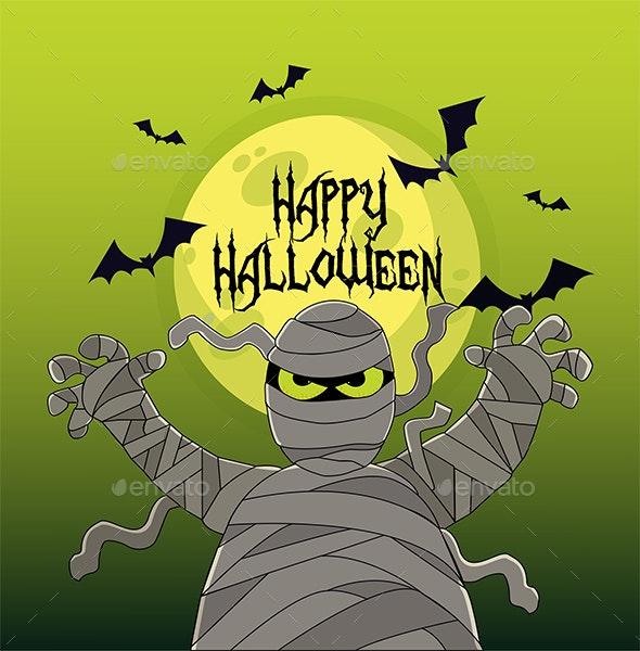 Angry Mummy Halloween Illustration - Halloween Seasons/Holidays