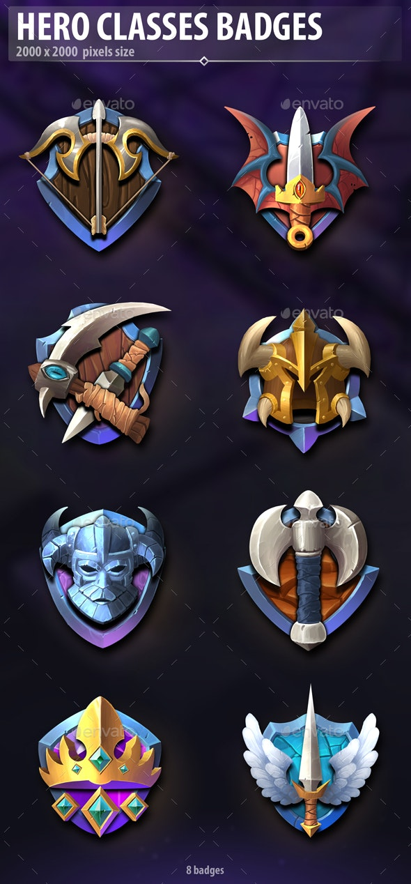 Hero Classes Badges - Miscellaneous Game Assets
