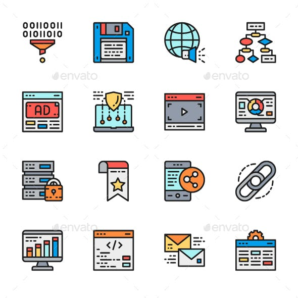 Set Of Marketing And SEO Line Icons. Pack Of 64x64 Pixel Icons
