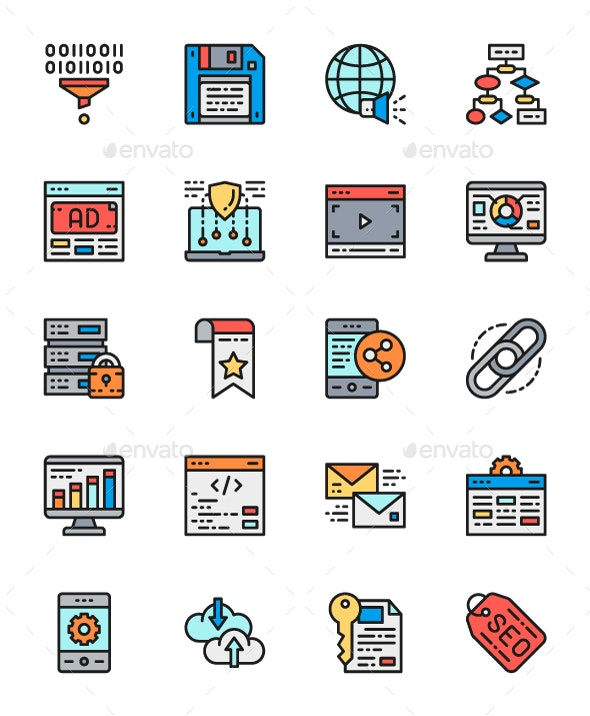 Set Of Marketing And SEO Line Icons. Pack Of 64x64 Pixel Icons - Technology Icons