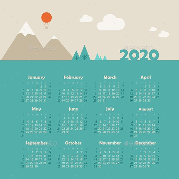 Calendar 2020 Year with Mountain Landscape