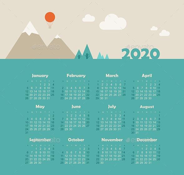 Calendar 2020 Year with Mountain Landscape - Miscellaneous Vectors