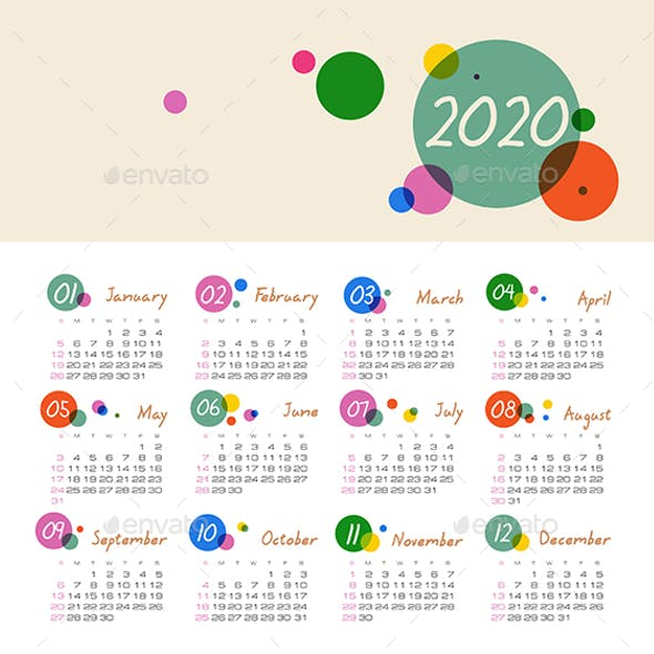 Calendar 2020 year. Week starts from Sunday