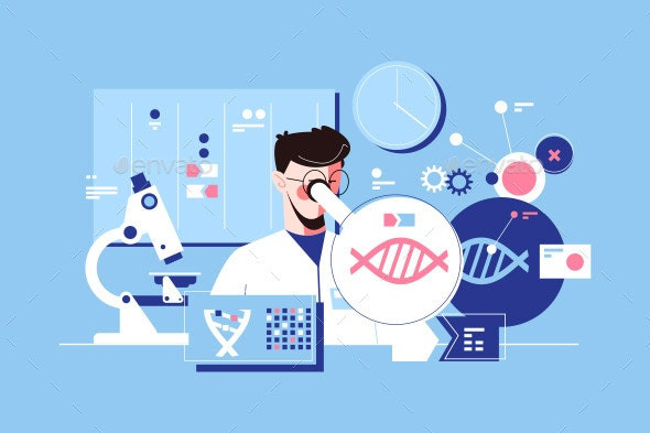 Man Scientist in Laboratory - Miscellaneous Vectors