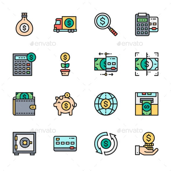 Set Of Money And Banking Line Icons. Pack Of 64x64 Pixel Icons