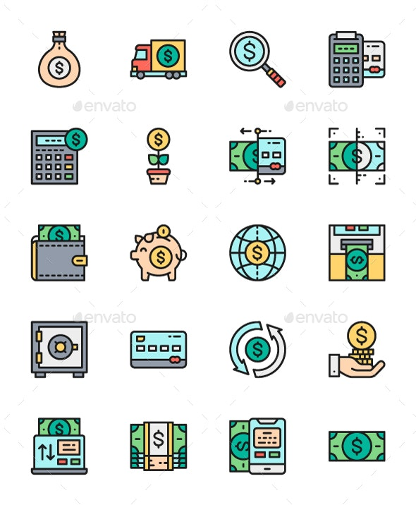 Set Of Money And Banking Line Icons. Pack Of 64x64 Pixel Icons - Business Icons
