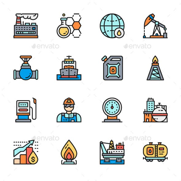 Set Of Oil Industry Line Icons. Pack Of 64x64 Pixel Icons
