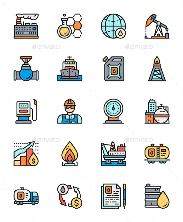 Set Of Oil Industry Line Icons. Pack Of 64x64 Pixel Icons - Technology Icons