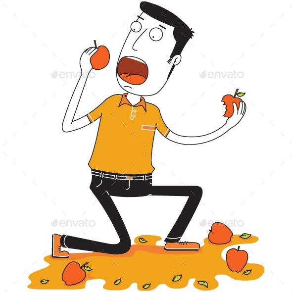 Man Eats Some Apples - Food Objects