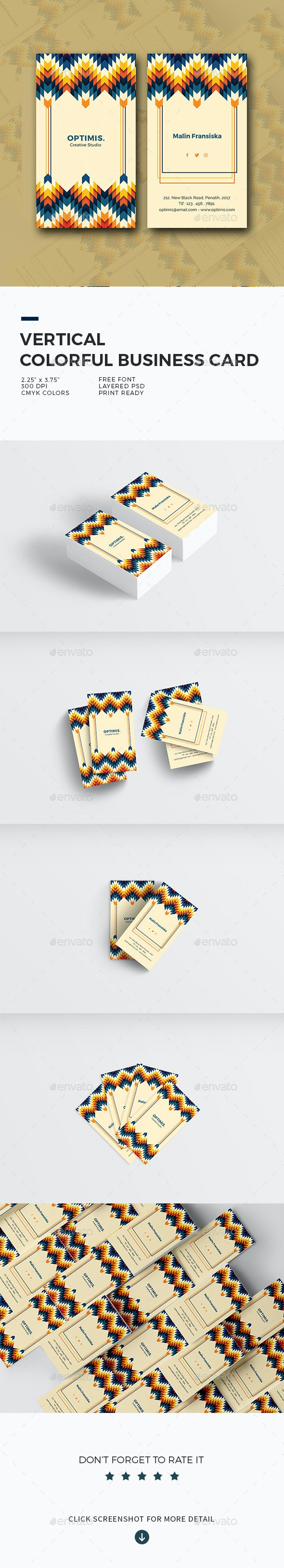 Vertical Colorful Business Card - Retro/Vintage Business Cards