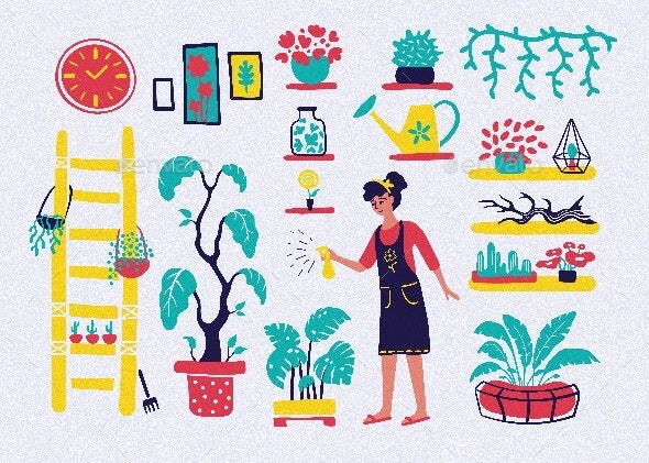 Set of Gardening Icons in Flat Style - Flowers & Plants Nature