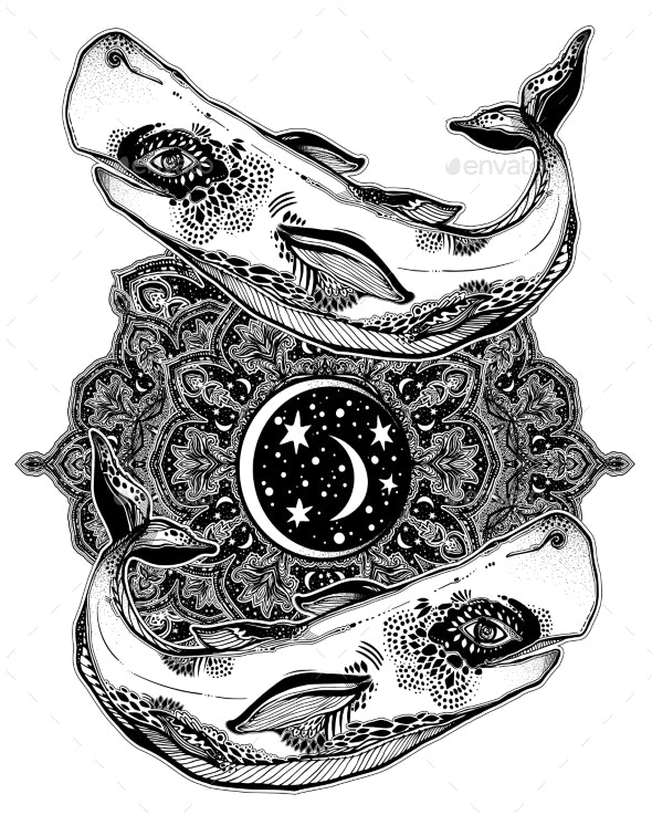 Highly Detailed Tribal Wild Sperm Whale Sea Animal - Animals Characters
