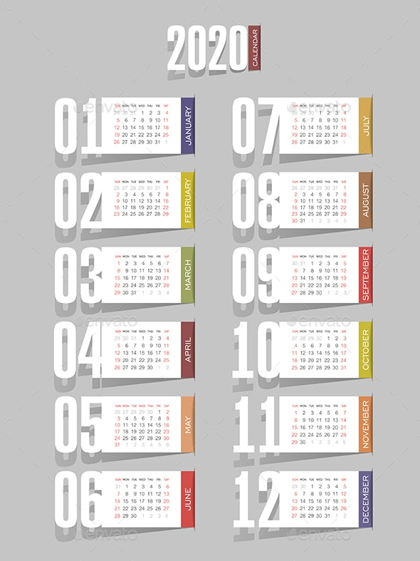 Calendar 2020 year. Week starts from Sunday - Miscellaneous Vectors