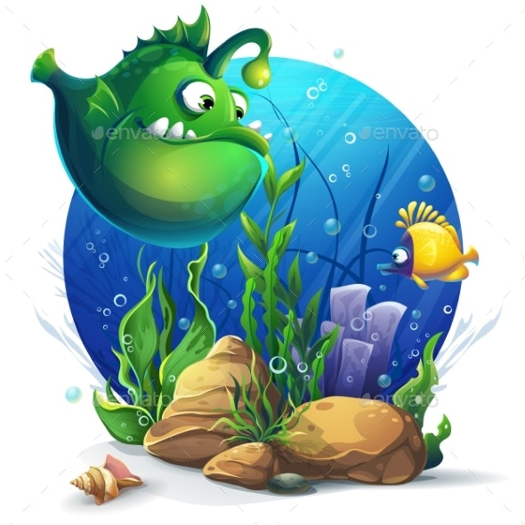 Undersea World with Green Fish - Landscapes Nature