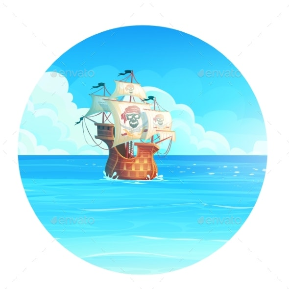 The Cartoon Background Illustration of a Pirate - Man-made Objects Objects