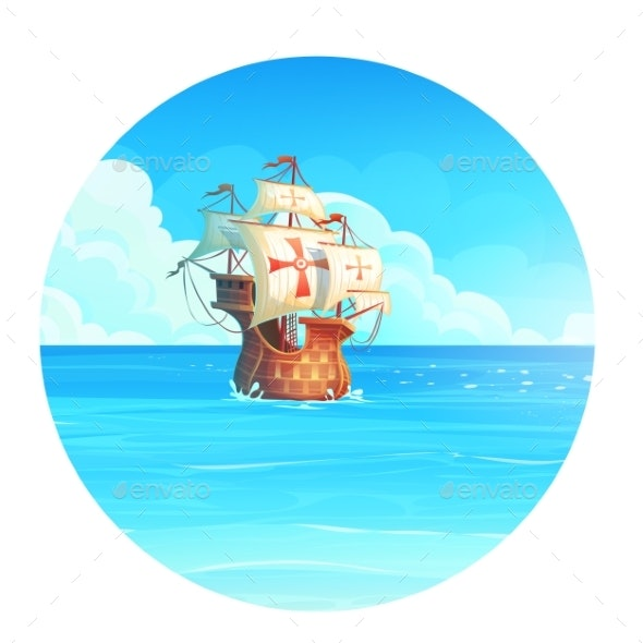 Vector Cartoon Background Illustration of the Ship - Man-made Objects Objects