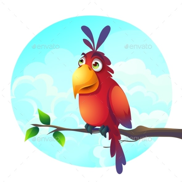 Vector Cartoon Illustration of a Parrot - Animals Characters