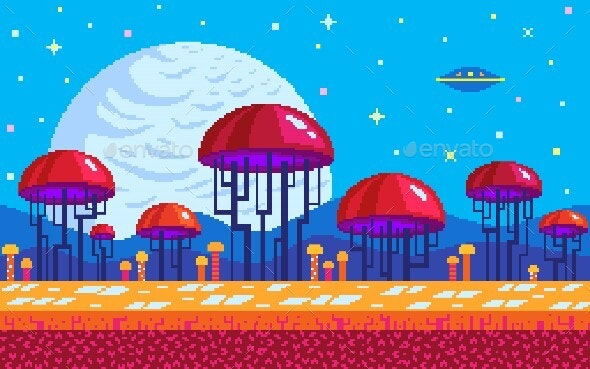 Mushrooms Area Pixel Art Game Location - Backgrounds Game Assets