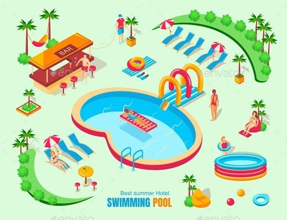 Swimming Pool Isometric Illustration - Sports/Activity Conceptual