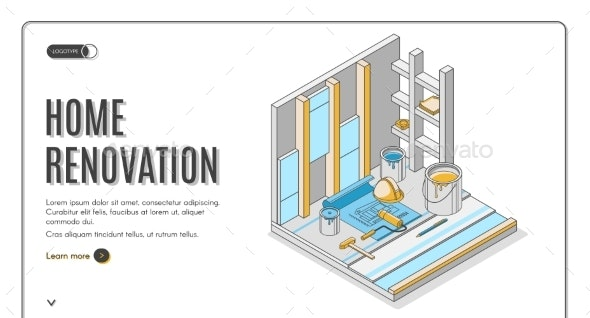 Home Renovation Repair Service Isometric Landing - Buildings Objects