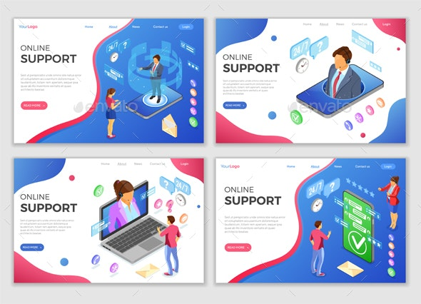 Isometric Online Customer Support Templates - Computers Technology