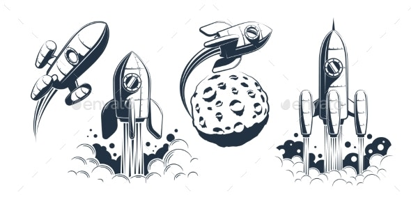 Rocket Spaceship Launch and Flying - Miscellaneous Vectors