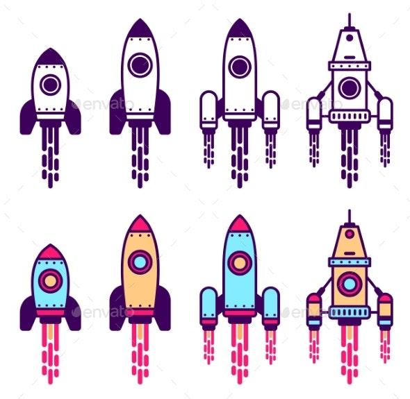 Space Rocket Line Icon Set - Miscellaneous Vectors