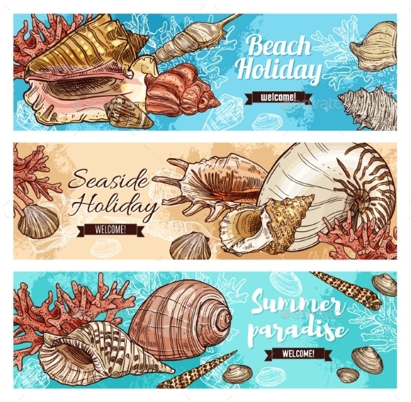 Corals and Marine Shells, Beach Mollusk - Animals Characters