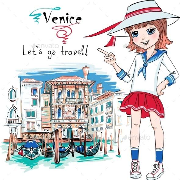 Fashion Girl in Venice Italia