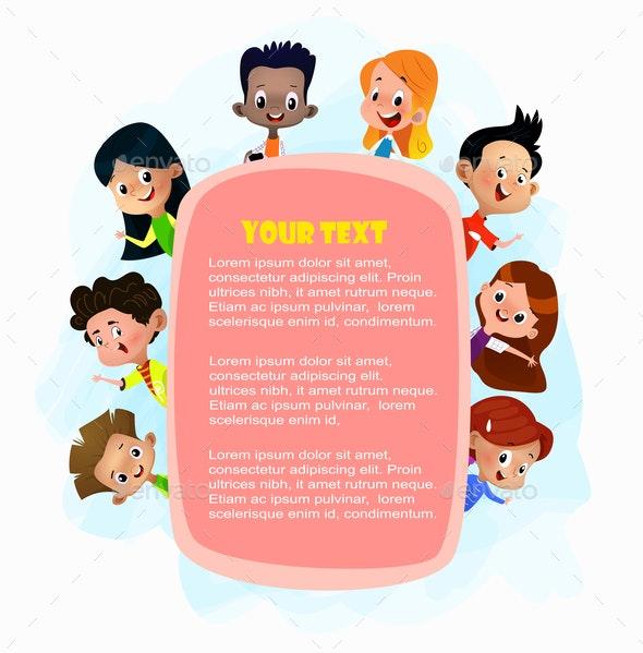 Illustration of Kids Peeping Behind Pink Placard - People Characters
