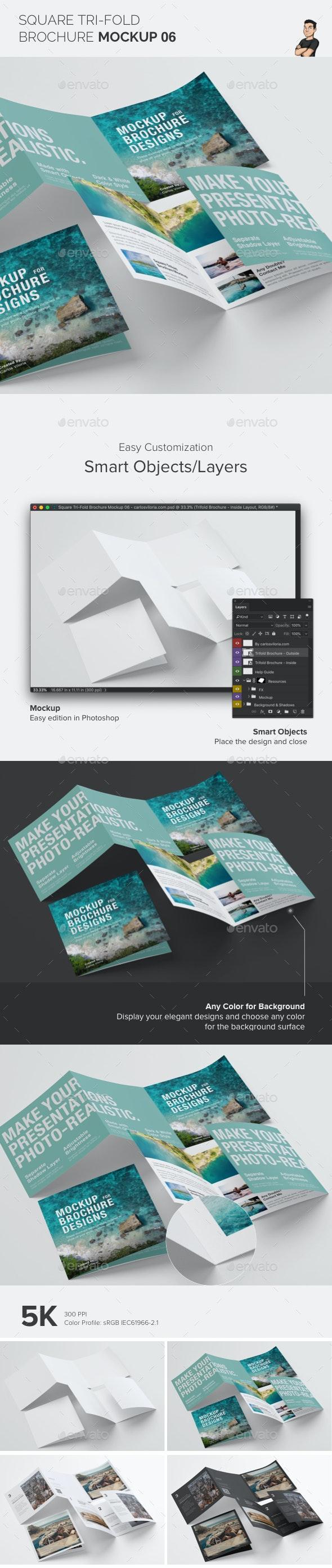 Square Trifold Brochure Mockup 06 - Stationery Print