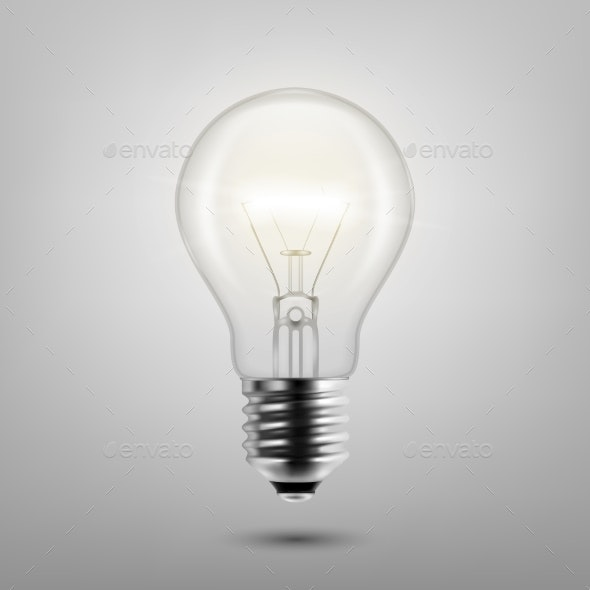 Vector Realistic Turning On Light Bulb Icon - Man-made Objects Objects