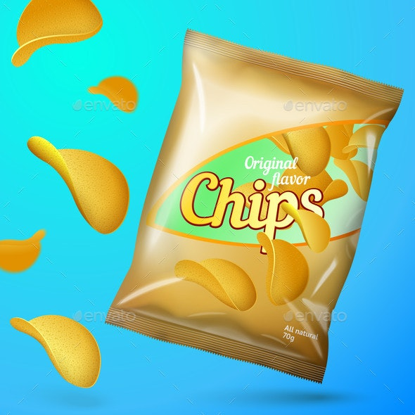 Vector Chips Mockup Template Golden Foil Pack - Food Objects