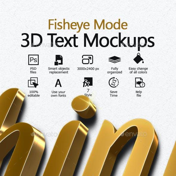 Fisheye Mode 3D text mockups