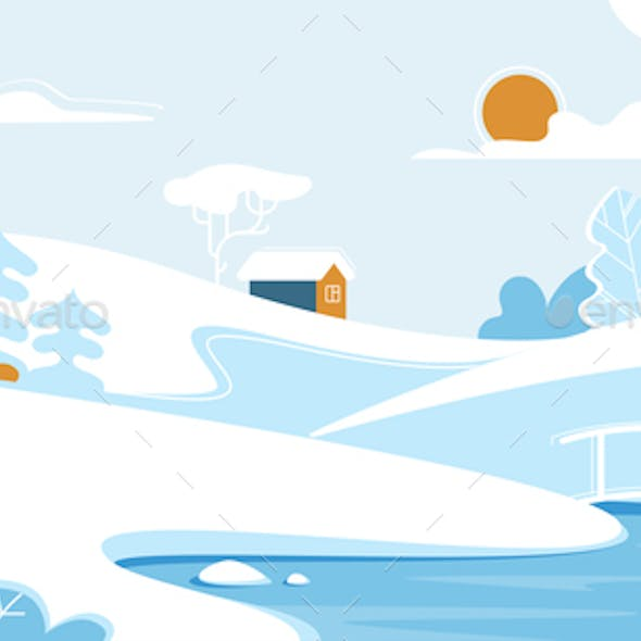 Winter Landscape with Lonely House or Chalet