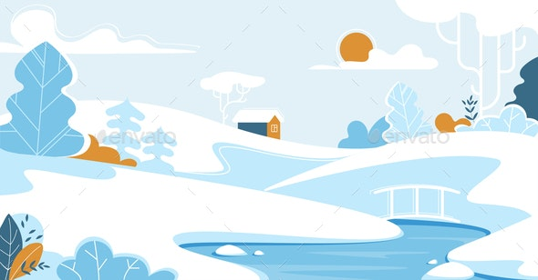 Winter Landscape with Lonely House or Chalet - Landscapes Nature