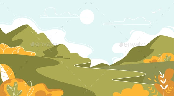 Mountain Landscape Nature at Summer Background - Landscapes Nature